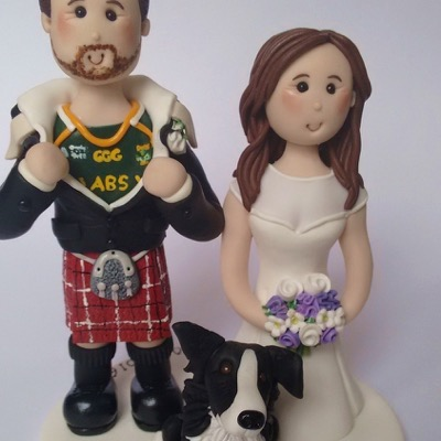 Wedding cake topper with groom in kilt