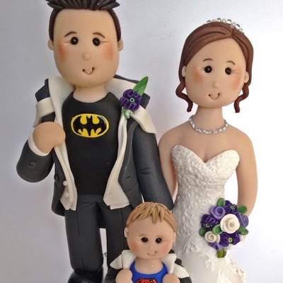 Wedding cake topper with groom in batman t-shirt