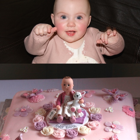 Cake topper of baby christening