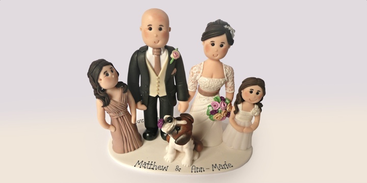 Wedding cake topper married couple with children and dog